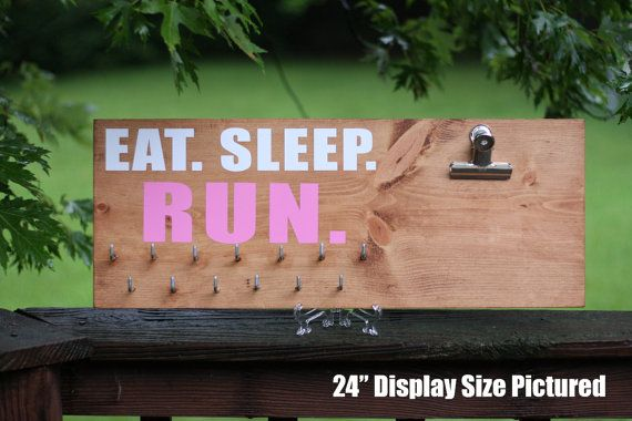 "Eat. Sleep. Run. (36"") - Race Medal Display   Holder   Hanger   Board   Rack   Bib   Run   Running   Triathlon   Sport   Gift   Custom"