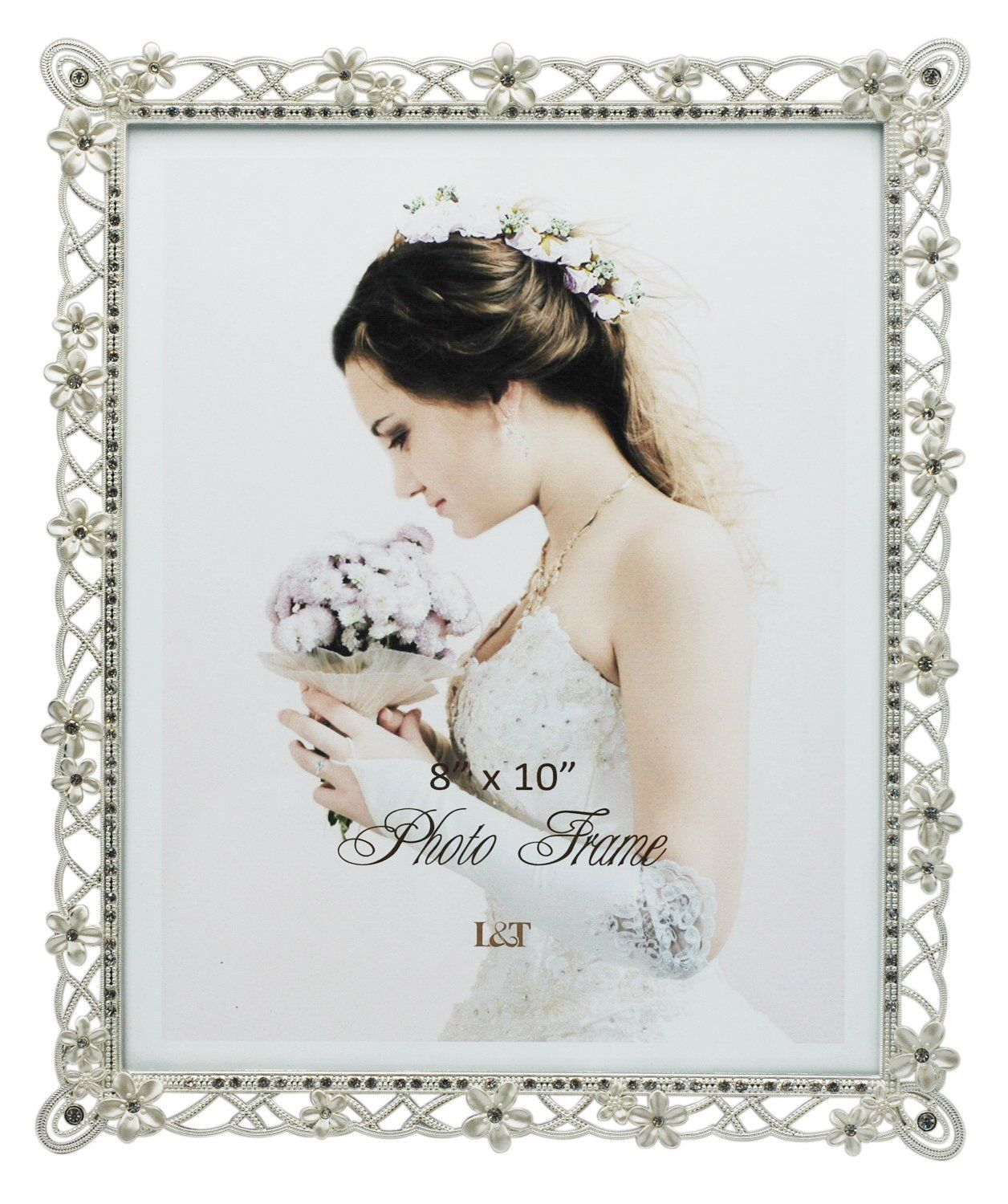 Landt Wedding Picture Frame Silver Plated Metal With Pearly White Flowers And Crystals 8 X10 Inch Learn More By Wedding Picture Frames Picture Frames Frame