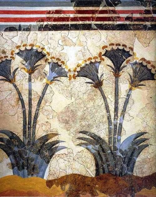 Papyrus Fresco 17th Century Bc Akrotiri Thera Currently In The