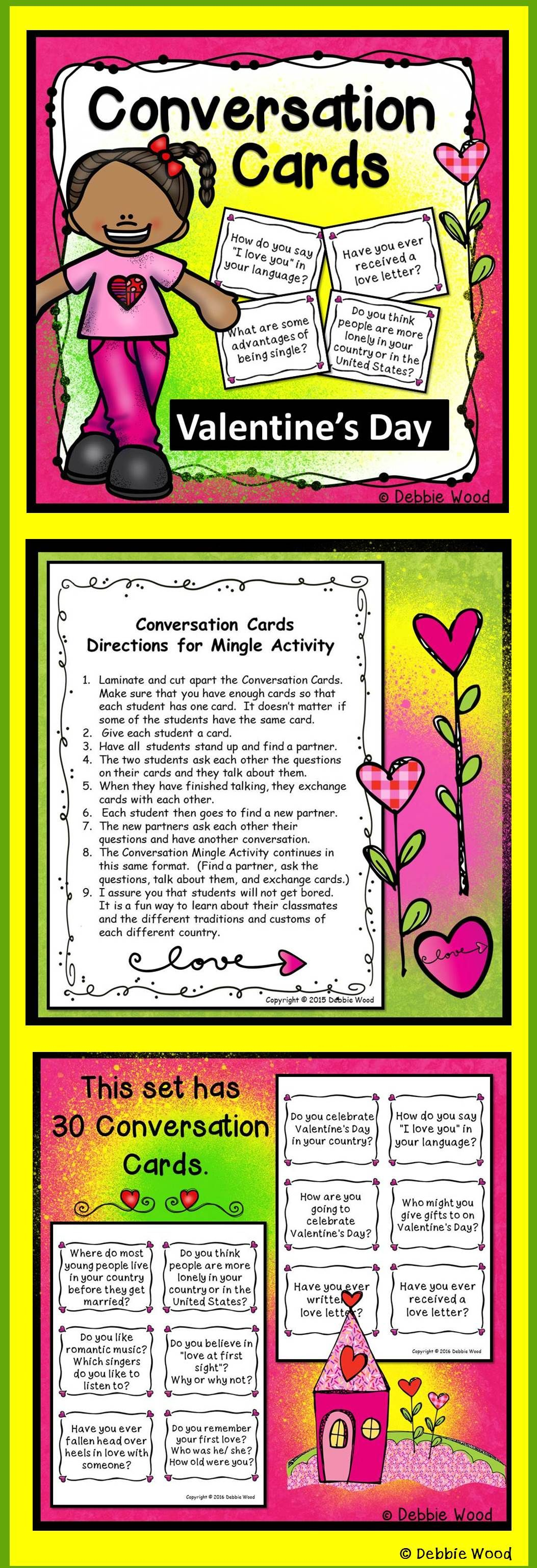 Valentine S Day Conversation Cards With Directions For Mingle Activity