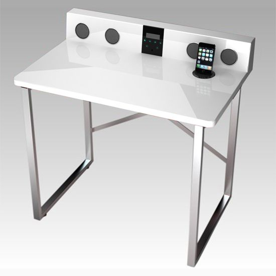 Stanley Computer Table in High Gloss White, 4070-11