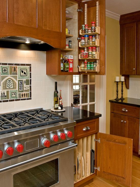 Like This Spice Rack Cookie Sheet Trays Near Oven Stove Top Cookie Sheet Cabinet Desi Colonial Kitchen Remodel Kitchen Remodel Layout Kitchen Remodel Plans