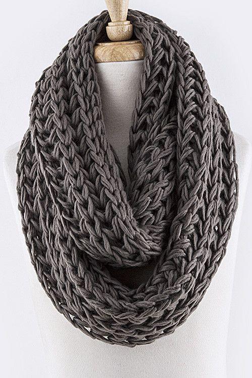 Knitting Scarf : Snow drift knit infinity scarf grey wish list