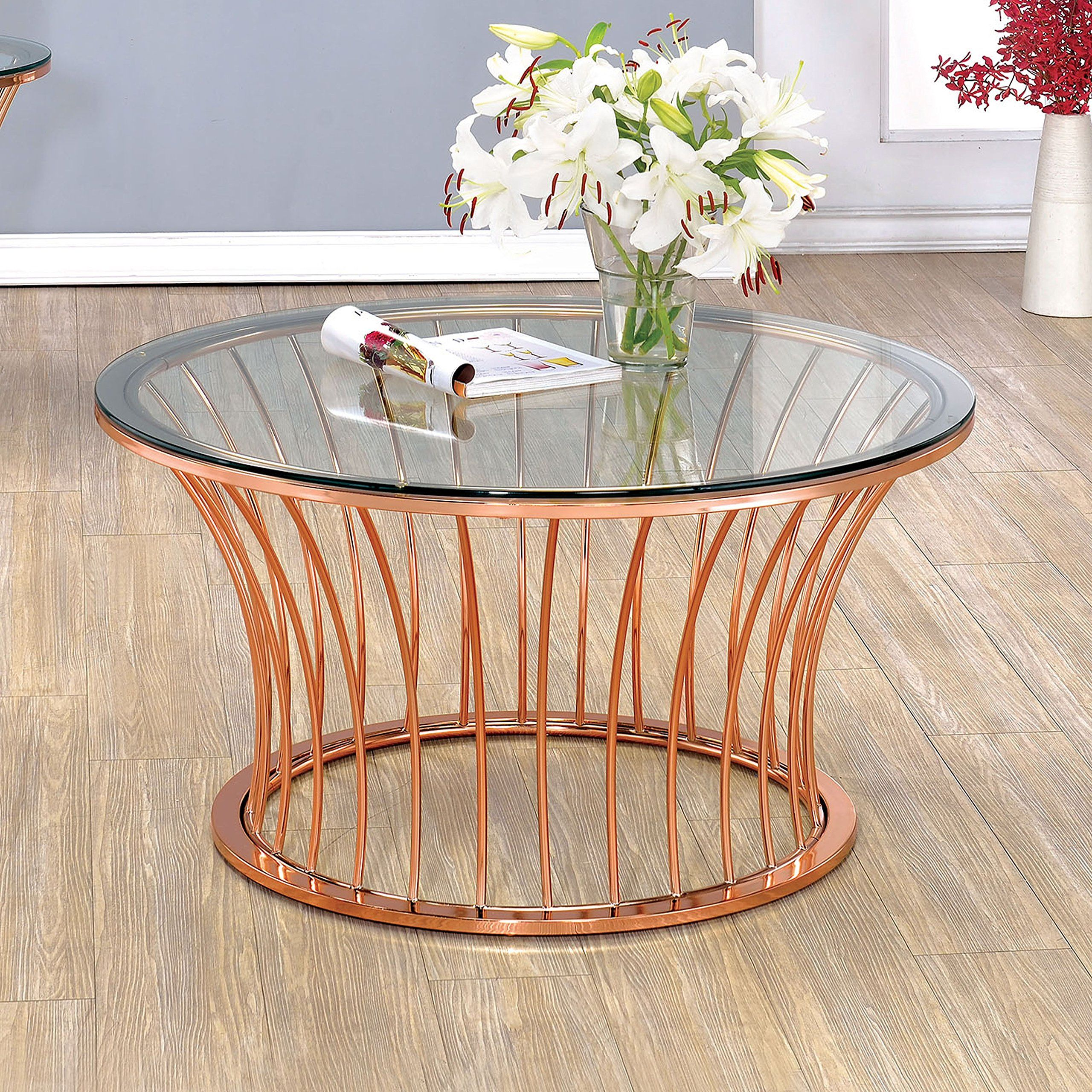 Furniture of america wallins contemporary round rose gold