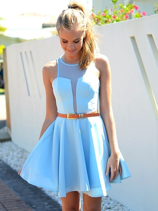 baby blue dress. A modest take on the plunge mesh neckline we have ...