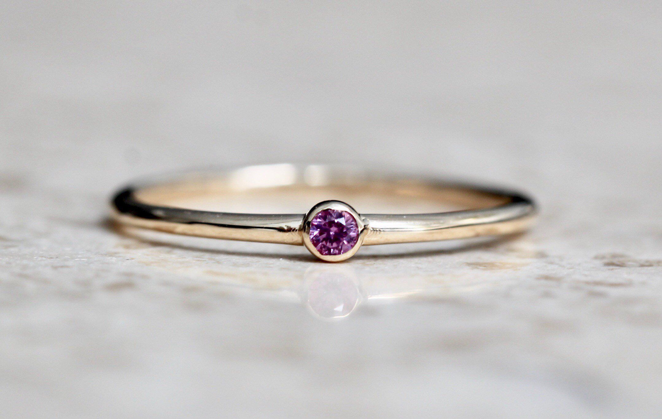 Photo of 14K Gold Tiny Pink Sapphire Ring, Pink Stone Ring, Dainty Ring, Dainty Jewelry, Stacking Ring, September Birthstone, Bezel Set