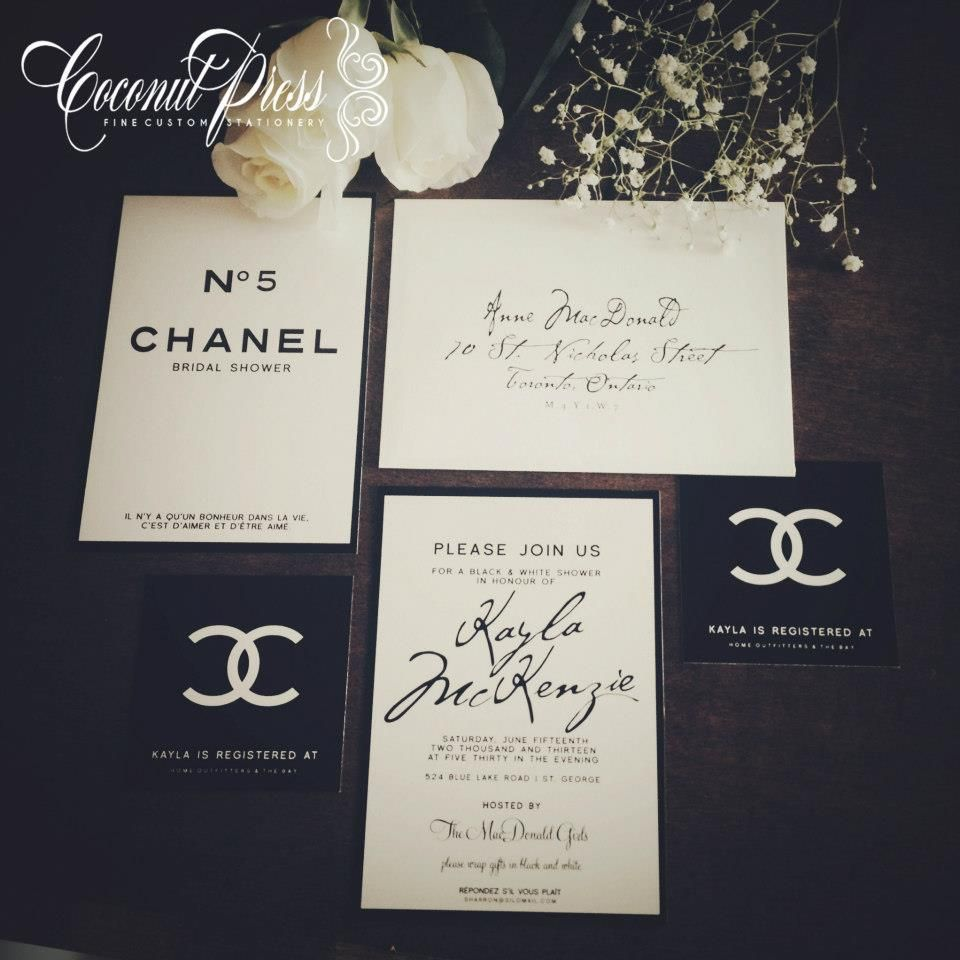 Cly Black White Coco Chanel Inspired Bridal Shower Invitations French Glamour By Coconut Press