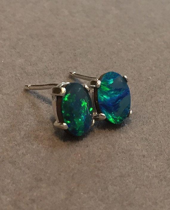 Australian Opal Earring Studs Genuine Black By Opalembers