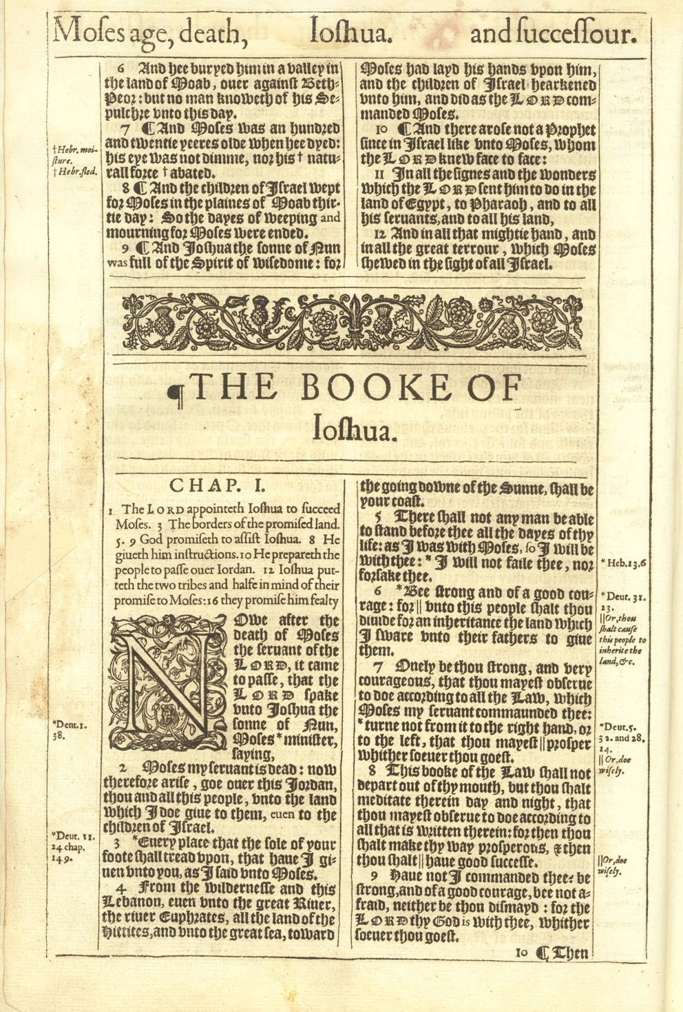 1611 King James Bible First Edition : Joshua Title | KJV