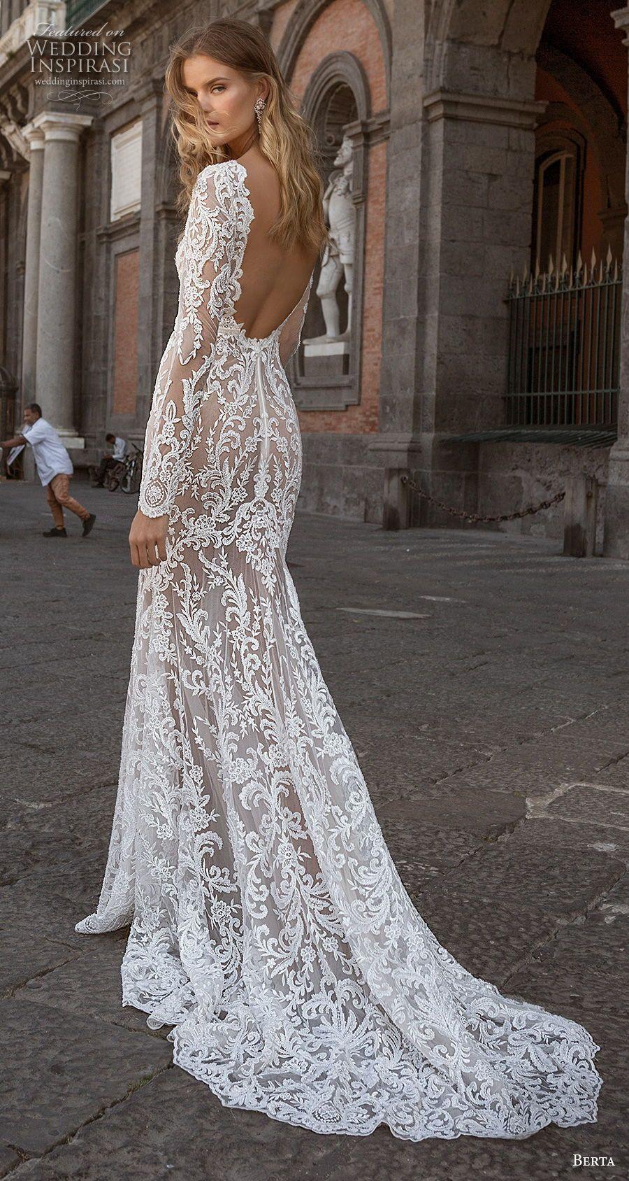 Berta Fall 2020 Wedding Dresses Napoli Bridal Collection Wedding Inspirasi Long Sleeve Wedding Dress Lace Lace Wedding Dress With Sleeves Berta Wedding Dress [ 1688 x 900 Pixel ]