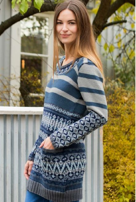 Pattern 337 02 Synne Long Pullover Dale Garn North America Knit In