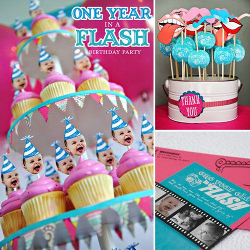 One Year Flash Birthday Party Theme I Like The Photos On Cupcakes And Idea Of A Time Capsule For Guests To Contribute Something