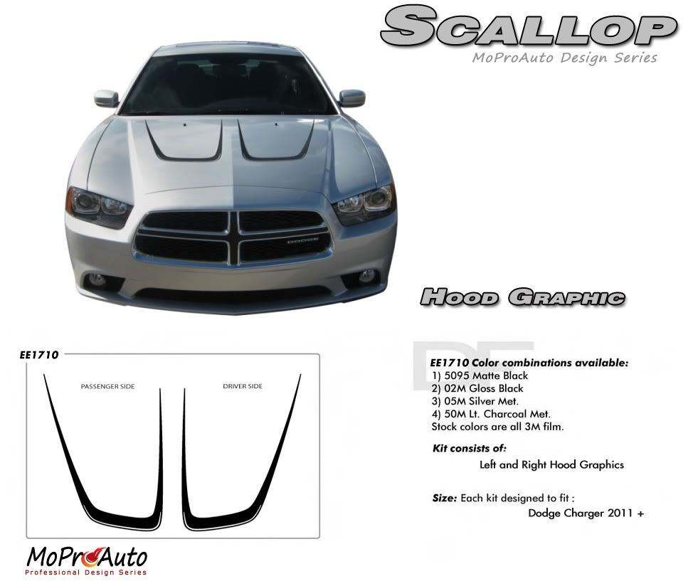 Dodge Charger HOOD SCALLOP Vinyl Graphics Stripes And Decals Set - Superb vinyl graphics