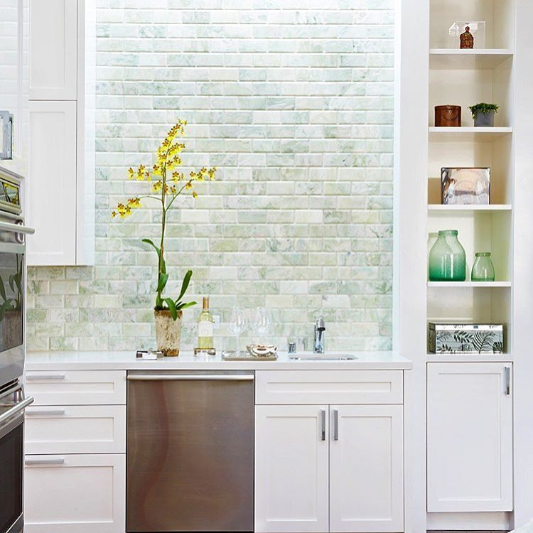 Happy Monday Ming Green Beveled Subway Tiles Washed In Light From A