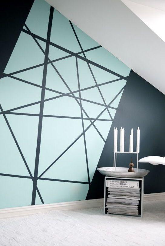 The Geometric Patterns Are Easy To Use With Color Masking Tapes And Good 2020 Kendin Yap Duvar Sanati Dekor Duvar Dekorasyonu