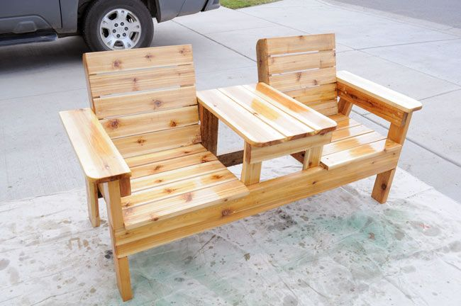 How to build a double chair bench with table outdoor diy for Pinterest diy outdoor furniture