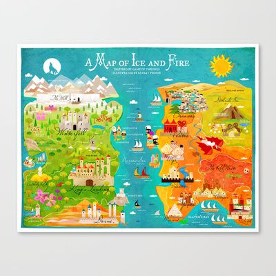 A Map of Ice and Fire Stretched Canvas by Kitkat Pecson | Posters ...