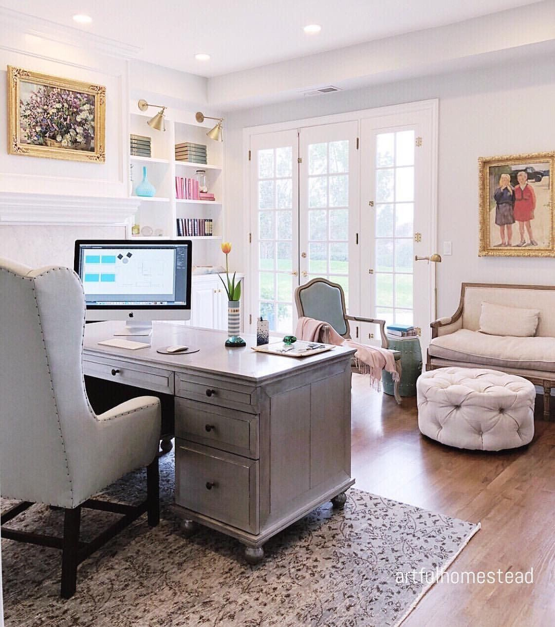 Gorgeous Farmhouse Style Living Room Get The Look Roomideaspictures Feminine Home Offices Home Office Space Home Office Decor