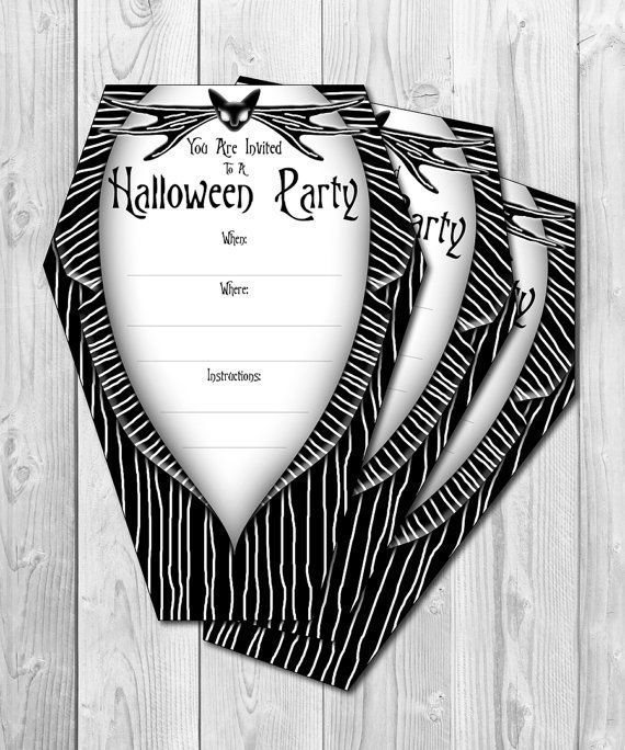 Frightening Halloween Invitation In Black And White Color Nightmare Before Christmas Decorations Nightmare Before Christmas Diy Halloween Wedding Invitations