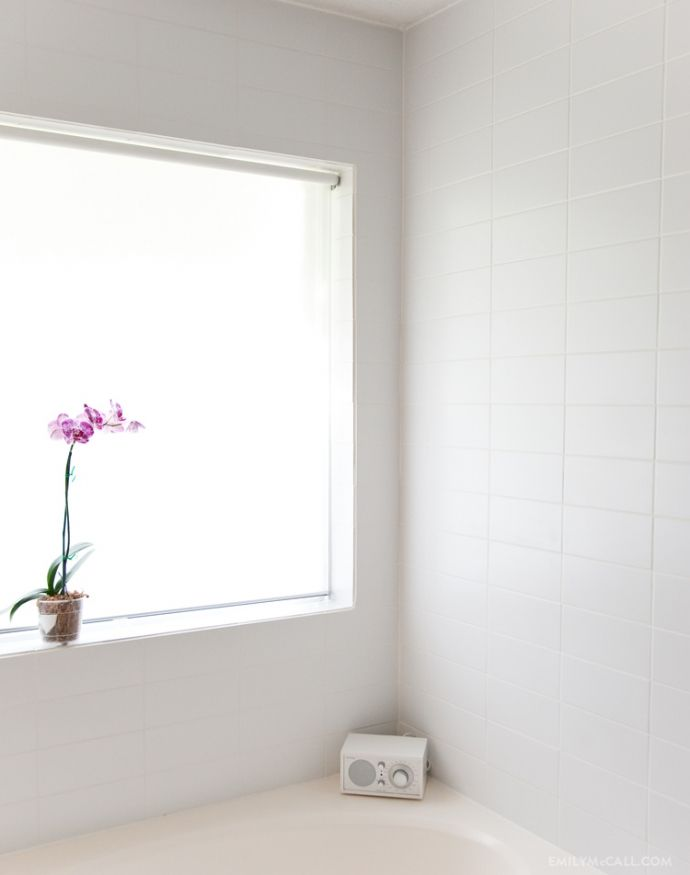 How we tiled our bathroom walls: white 4x10 tiles, straight set ...