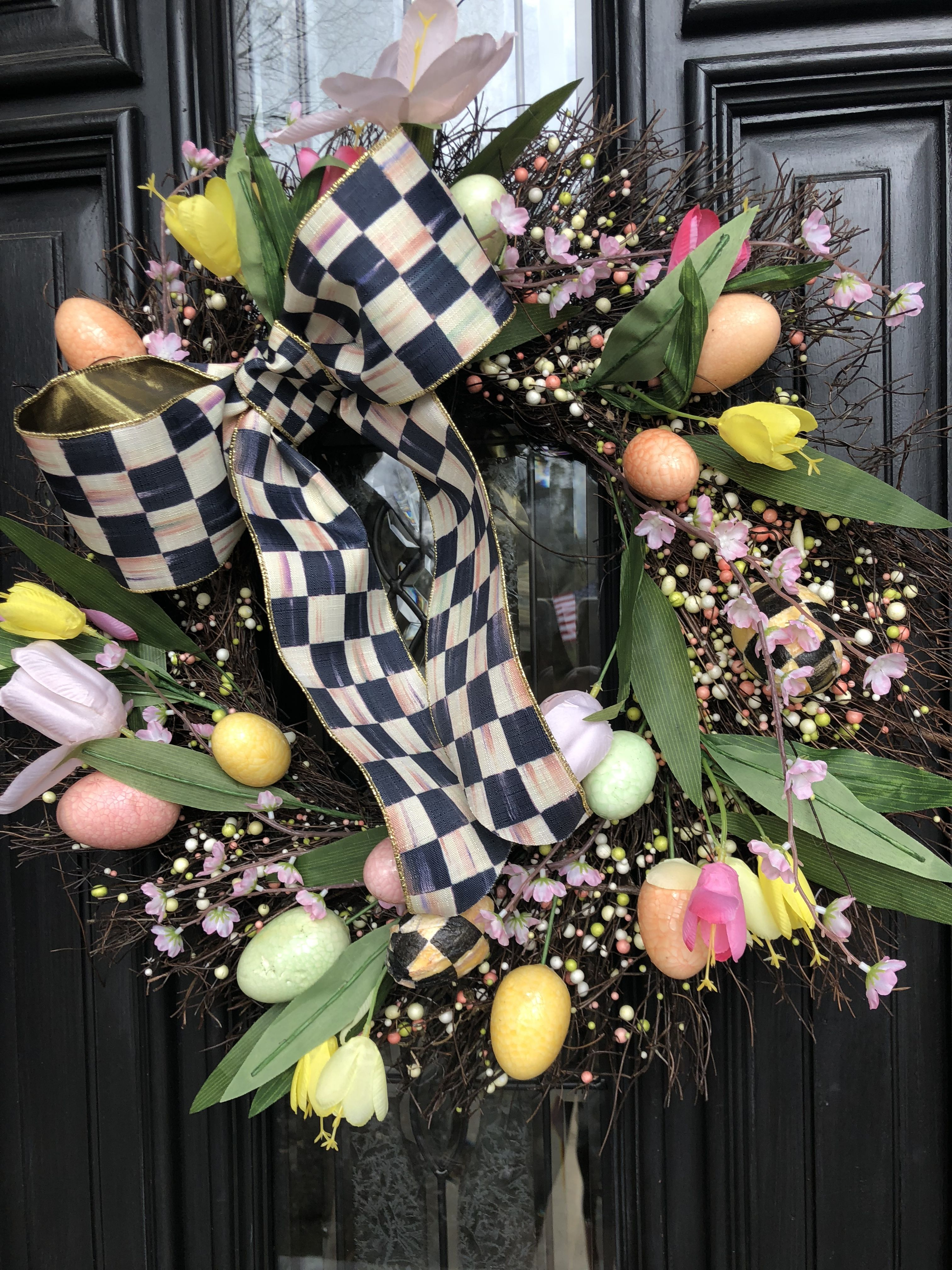 My Spring Bonquet Door Hanger And Mackenzie Childs Napkin!
