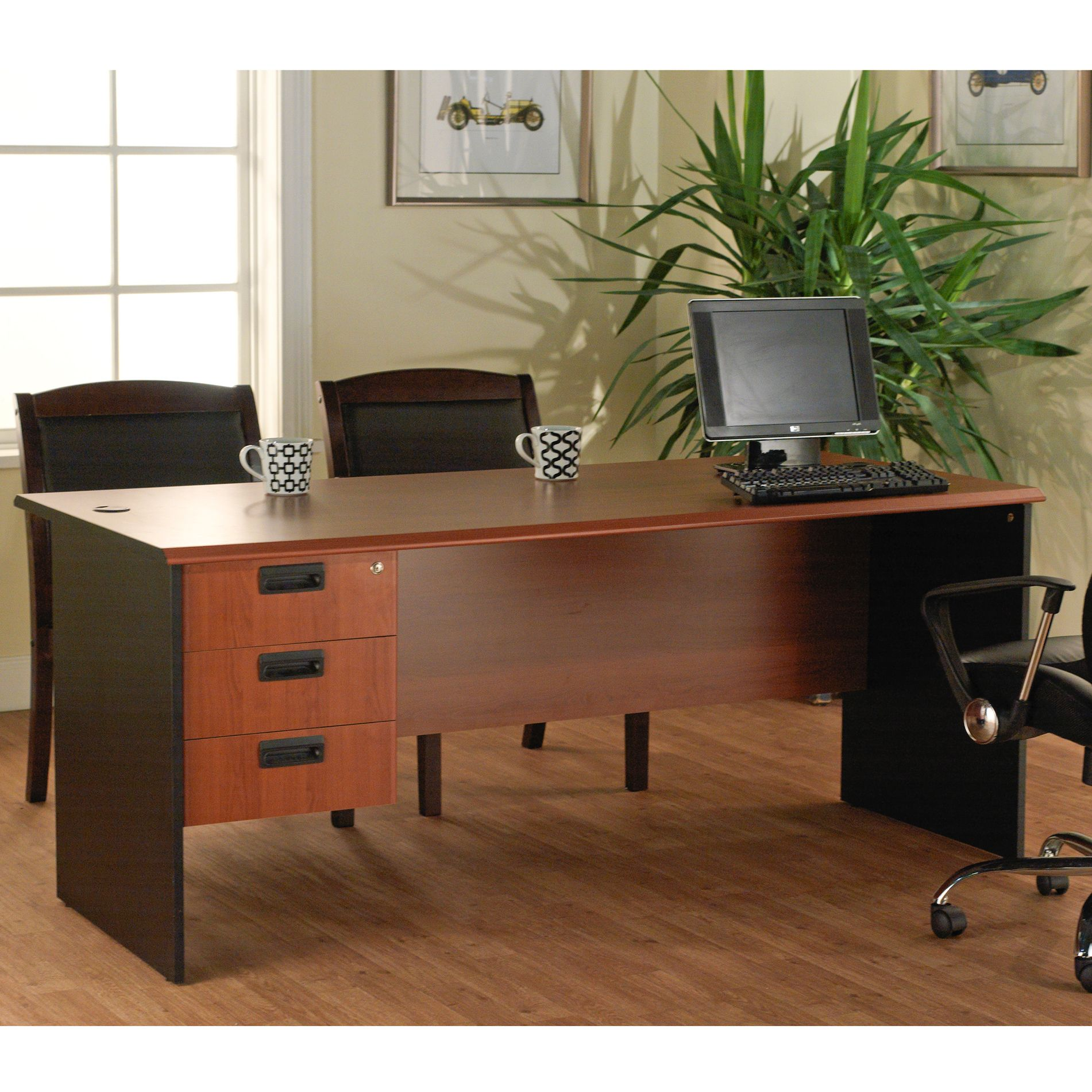 Lee and Smith Office Straight Desk with 3 Drawers 206