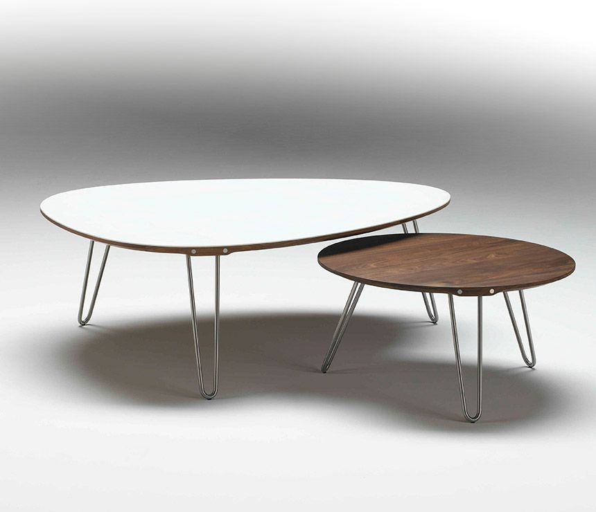 White Corian Danish Coffee Table Shown With Walnut Round Coffee Table