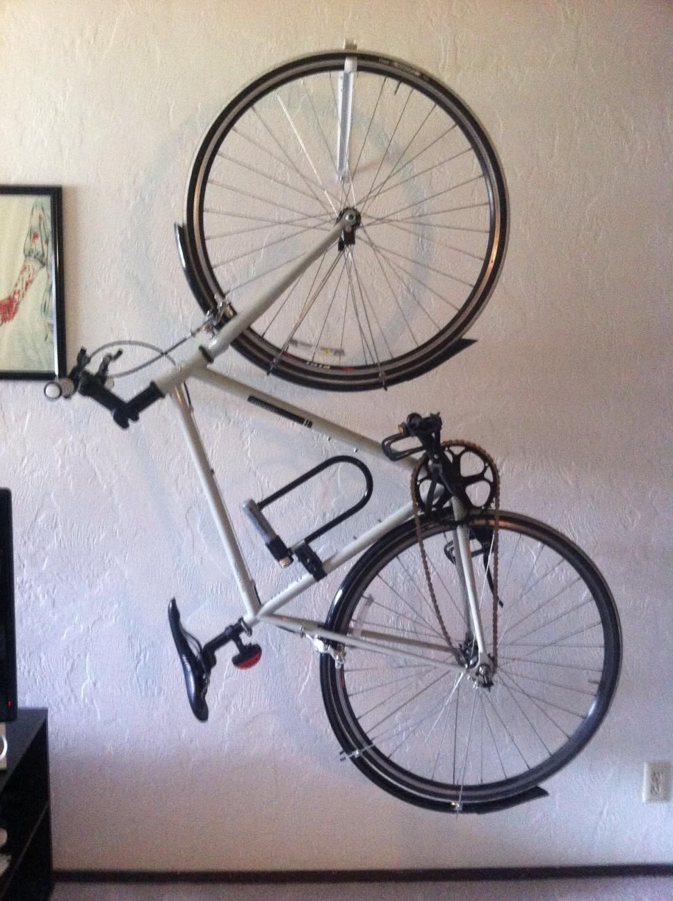 Wall Mounted Bike Rack That Allows Bike To Be Vertical And