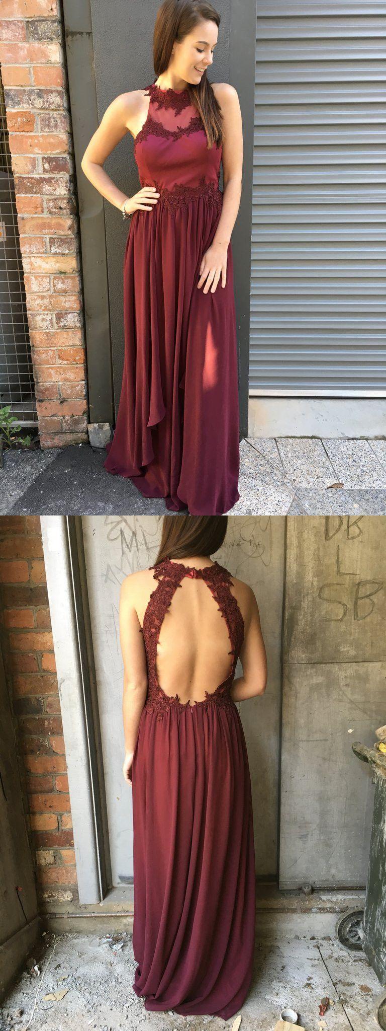 Burgundy long prom dress chiffon long prom dress with side slit