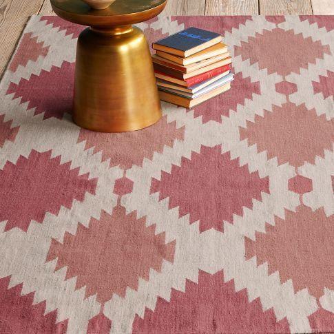 rugs - phoenix dhurrie | west elm - pink dhurrie rug, pink and