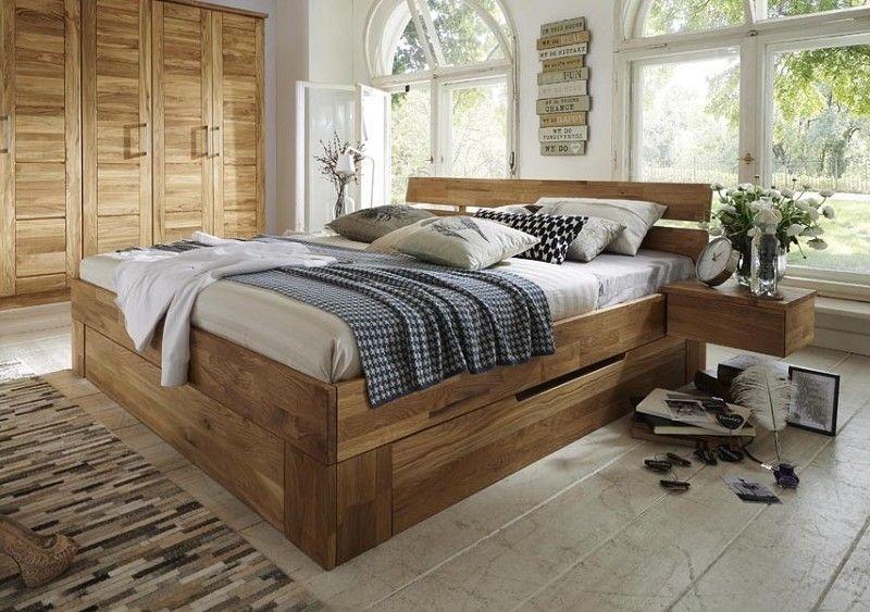 KONSTANZ Bett mit Schubkästen #803 200x200 Wildeiche massiv Jetzt - schlafzimmer betten 200x200