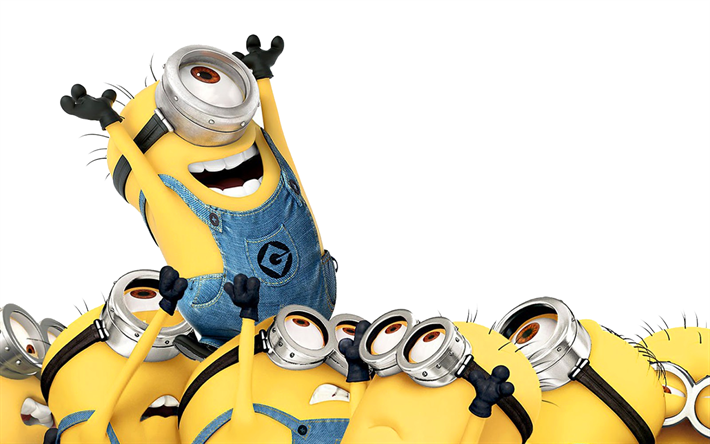 Download wallpapers Minions, 4k, funny characters