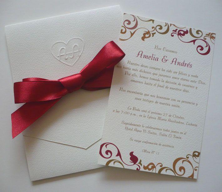 Tarjetas de boda elegantes repujadas cortes especiales - Disenos tarjetas de boda ...