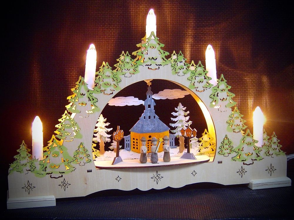 Weihnachtsbeleuchtung Fenster Günstig.3d Led Lichterbogen Schwibbogen Kirche Seiffen Kurrende Bemalt