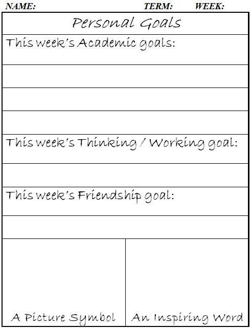 Personal Goals (word doc) We used these last year for students to ...