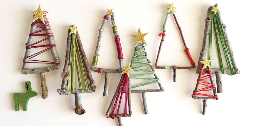 These mini twig trees look great as extra decorations or as cute