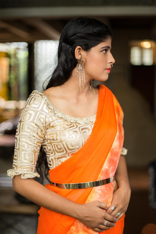 ac3a50088e254e Gold foil printed jute net U neck blouse with frills on sleeves  gold   blouse  sareeblouse  houseofblouse