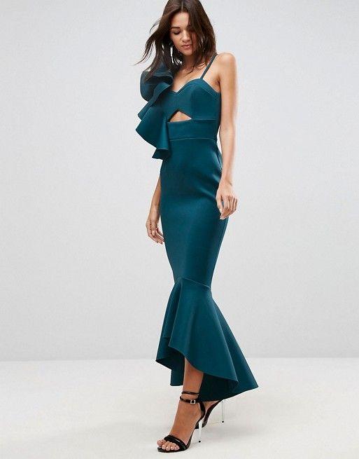 PREMIUM One Shoulder Ruffle Pephem Maxi Dress