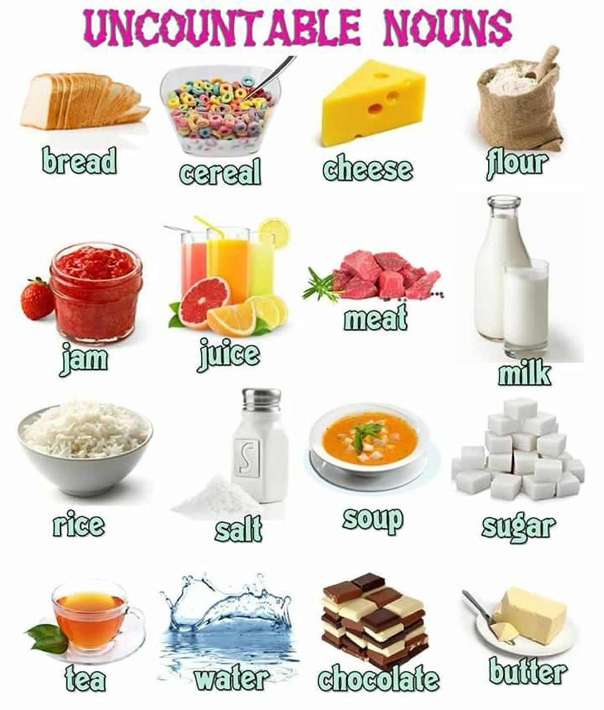 Food And Drinks Vocabulary In English 500 Items Illustrated Eslbuzz Learning English English Vocabulary Uncountable Nouns English Food
