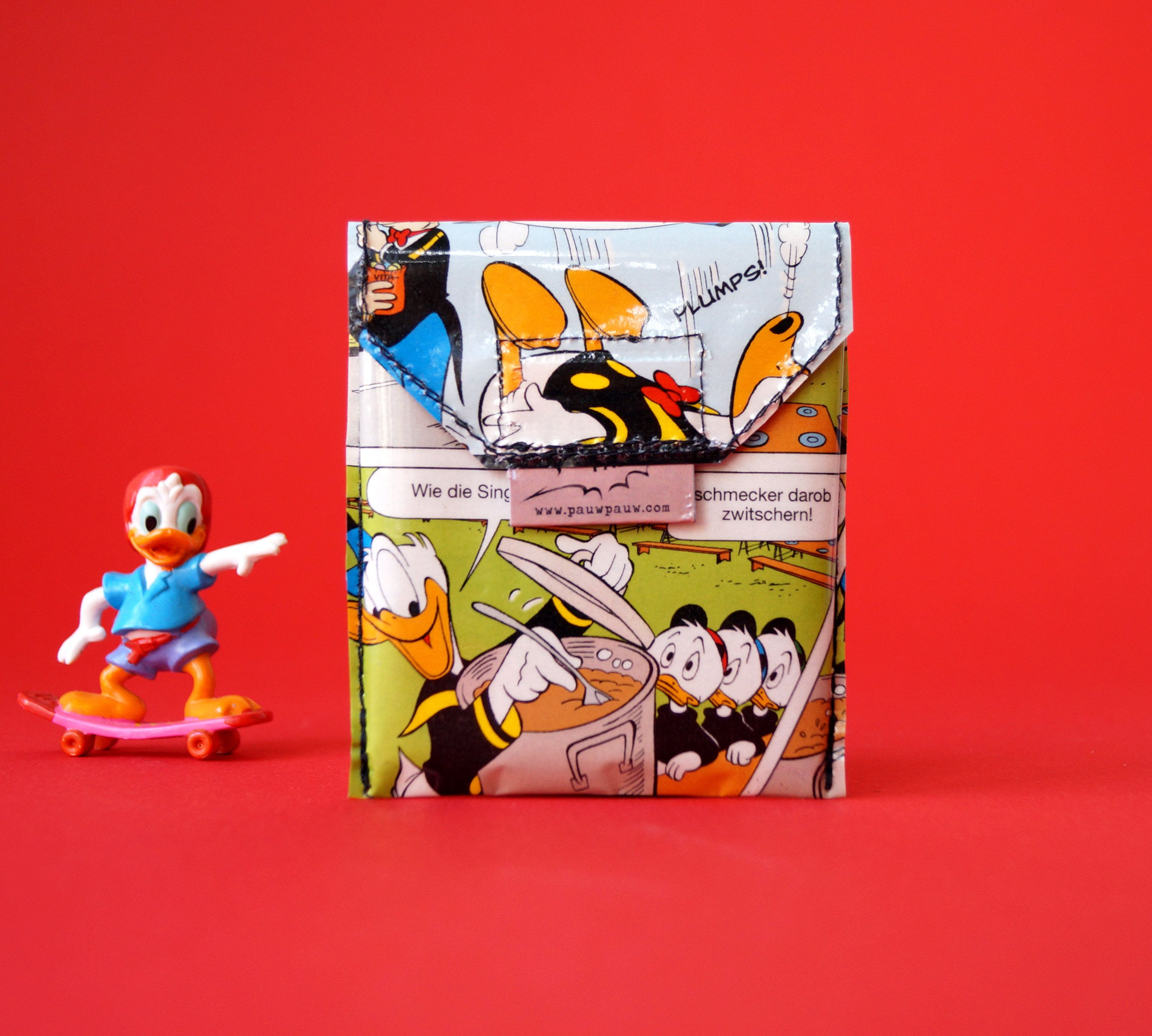 Donald Duck Credit Card Holder Upcycling Unique Piece Multi