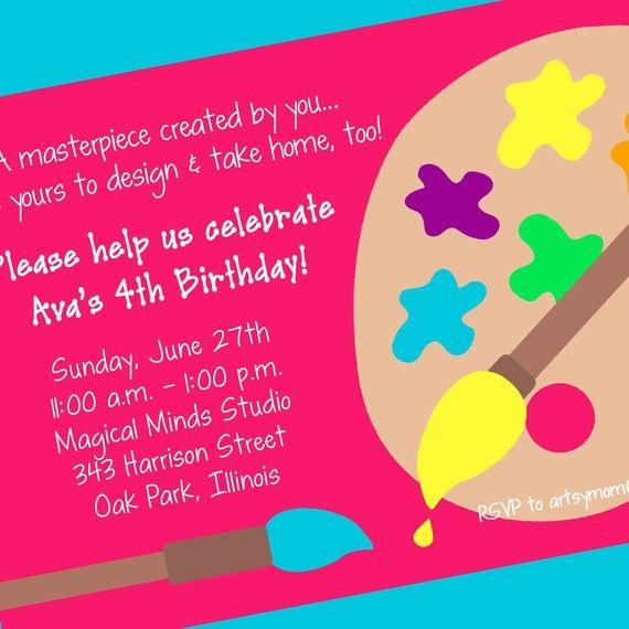 Art Party Invitation Printable Design By Cardsbycarolyn 800