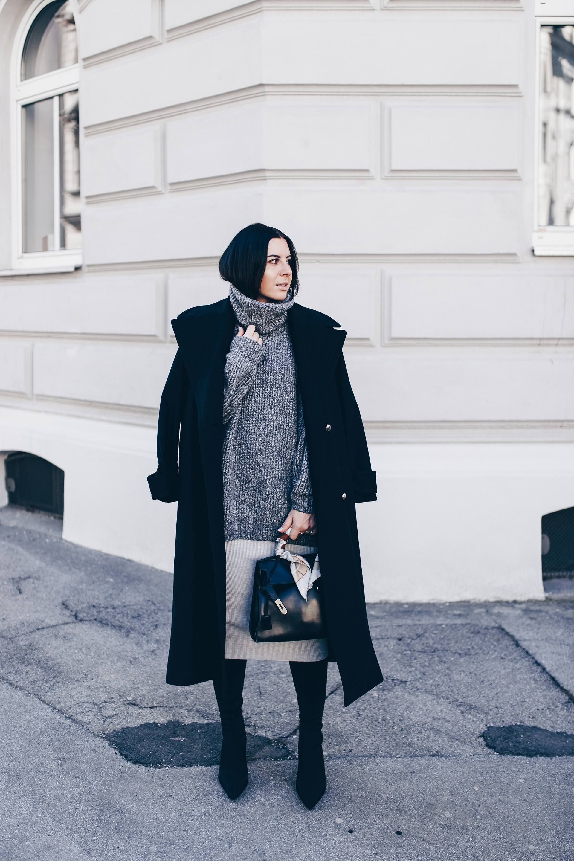 Mein Winter Outfit mit Rock, Overknee Boots und Oversize