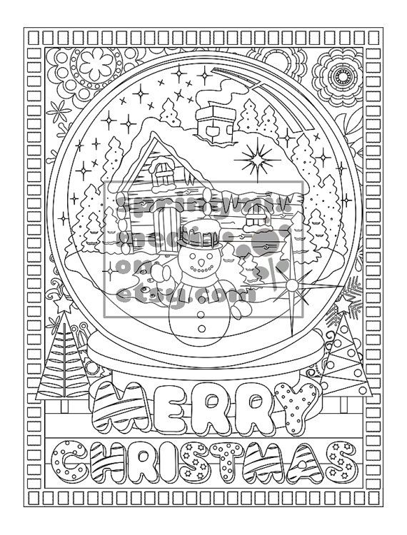 Christmas coloring page - Holiday Xmas Snow Globe - Christmas ...