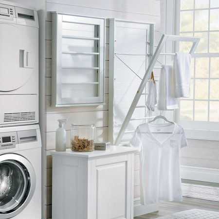 Add Drying Convenience In Small Spaces With The Wall Mount Drying Racks Each Rack Tilts Out At 3 Differe Laundry Rack Laundry Room Remodel Drying Rack Laundry