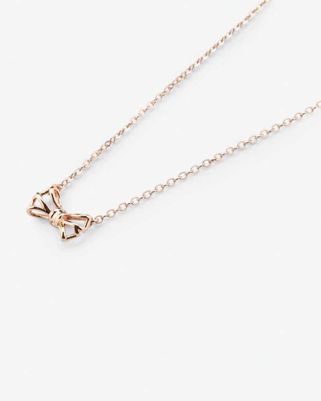 Micro geometric bow necklace Rose Gold Jewellery Ted Baker ROW
