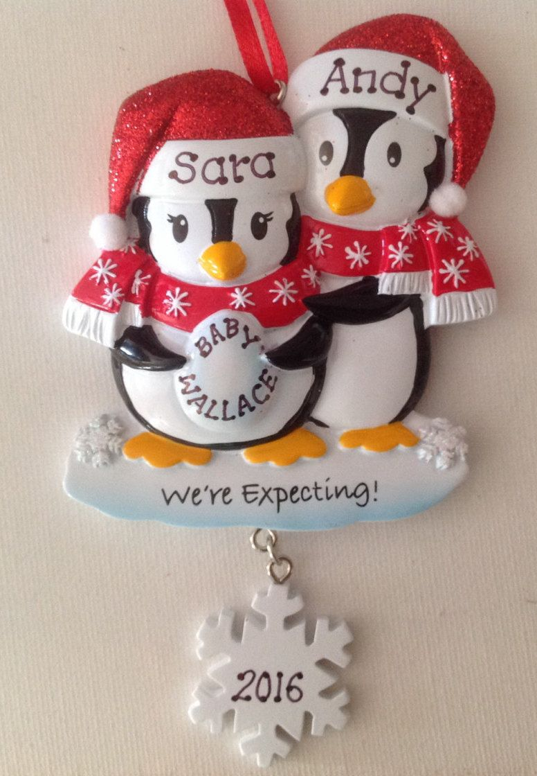 Personalized Christmas Ornament Pregnant Penguin Couple with pet