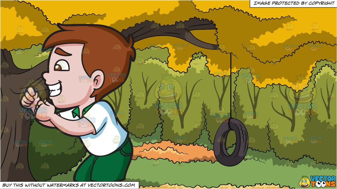 Vendor: vectortoon Type: Clipart Price: 20.00  Source Clipart  A Happy Boy Flossing His Teeth  A boy with brown hair and eyes wearing a white shirt with green collar shorts white socks and a pair of green with white sneakers flossing his teeth using a dental thread on his hands.  Tire Swing In A Backyard Background  A rubber tire swing attached to the branch of a big tree with yellow leaves surrounded by lush green trees during an Autumn day. #tireswing