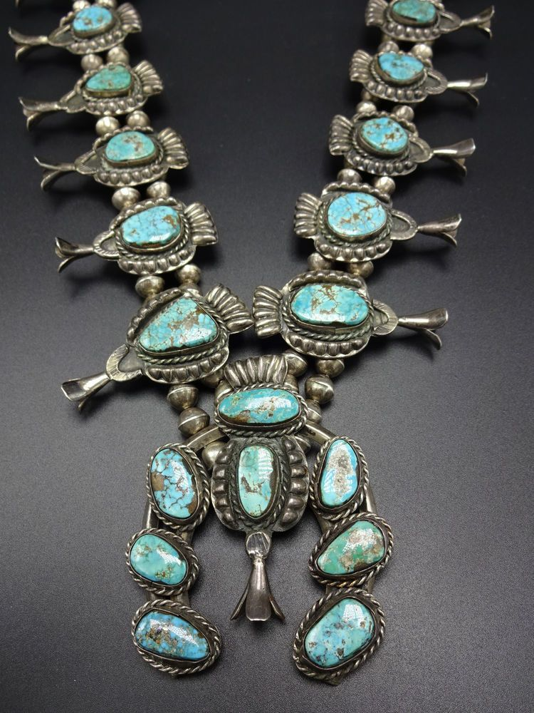 Heavy Old 1940s Vintage NAVAJO SterlingSilver Turquoise SQUASH BLOSSOM Necklace