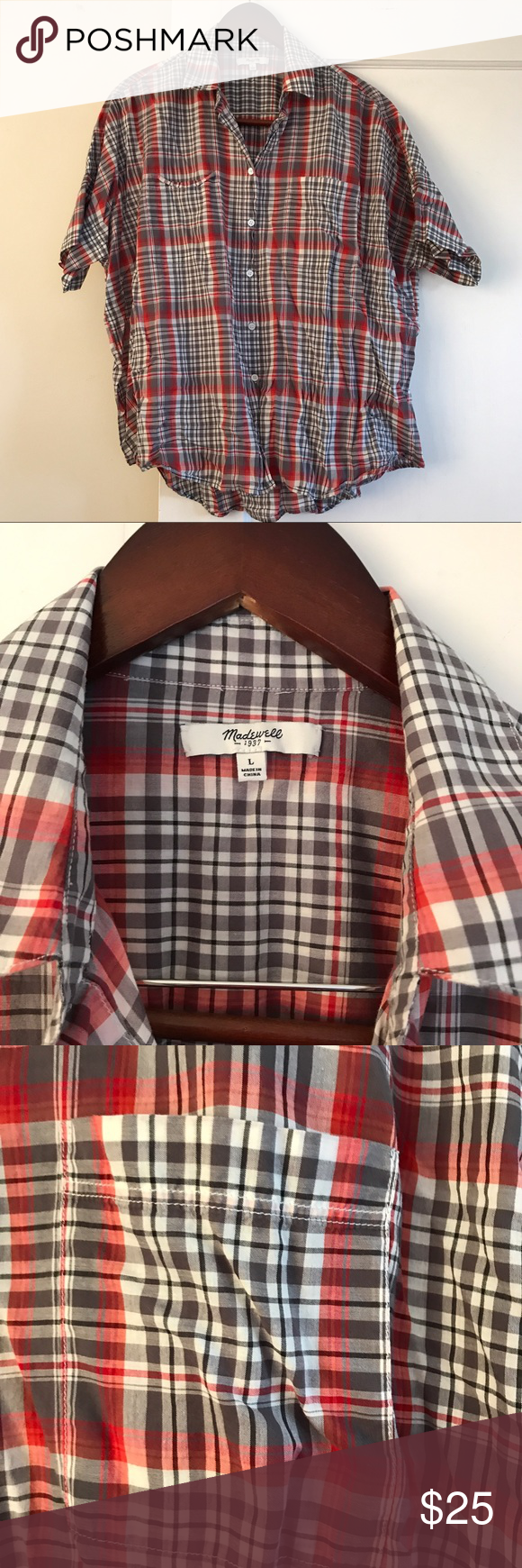 Red & grey plaid Madewell Courier shirt. Needs an iron  but in like new condition! Worn a couple of times and laundered. % cotton. Has boxy, oversized fit. Sold out on Madewell.com. Madewell Tops Button Down Shirts