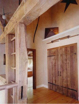 Use The Original Hay Ladders The Recycled Antique Style Wood Doors Are Pretty Nice Too Wood Doors Interior Barn Wood Frames Barn Beams